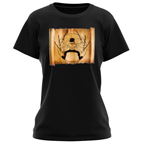T-Shirt Femme Noir One Piece parodique Zoro Roronoa : Da Vinci Samurai ! (Parodie One Piece)