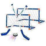 AMOYEE Hover Hockey Set Toys, Hovering Hockey Game con 2 Objetivos y Luces LED, Regalos de fútbol aéreo de Interior para 3 4 5 6 7 8 9 años Niños