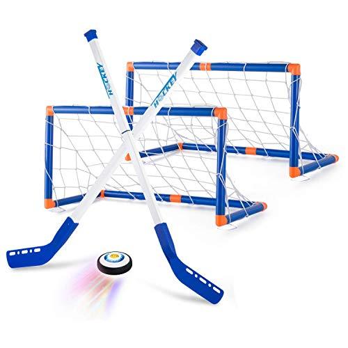 AMOYEE Air Power Hover Hockey Set mit 2 Toren, Super Spaß beim Hockey in Innenräumen, Perfekt für Kinder Jungen Mädchen