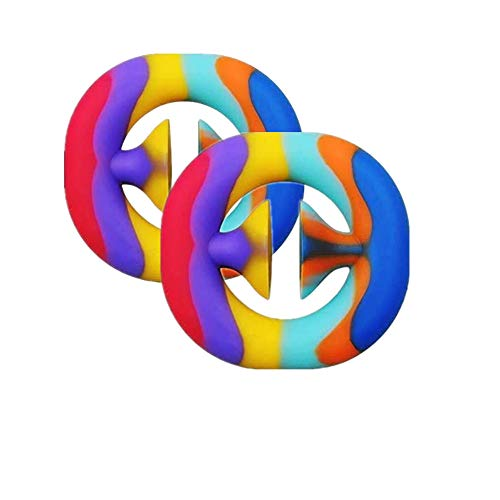 zxyyxz Fidget Snappers Toys, Finger Decompression Toys, Silicone Grip Ring Decompression Toys, Squeeze, Grasp, Capture, Perception, Exercise Arm Muscles, Finger Sensory Fidget Toys (2pcs,Multicolor)