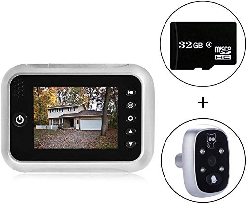 """3.5"""" TFT LCD Screen Digital Doorbell Security Camera Door Peephole Viewer Door Camera Night Vision Wide Angle + Video Record+ Photo Shooting + Do Not Disturb(dnd) Function (With 1 free 32GB SD Card)"""