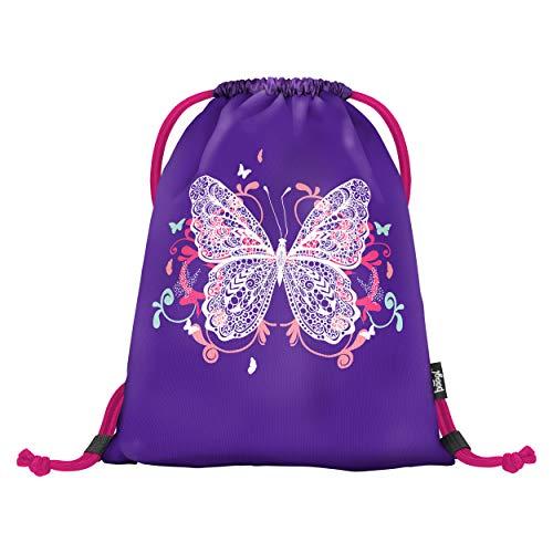 Baagl Turnbeutel für Mädchen und Damen - wasserdichte Schuhbeutel, Schule und Kindergarten Sportbeutel, Sportrucksack (Schmetterling)
