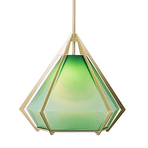 Exquisita Retro verde de cristal pendiente de la luz restaurante Mesa de comedor Decoración de la lámpara de la personalidad Barra Lámpara colgante ajustable Iluminación for el hogar de hierro de Drop