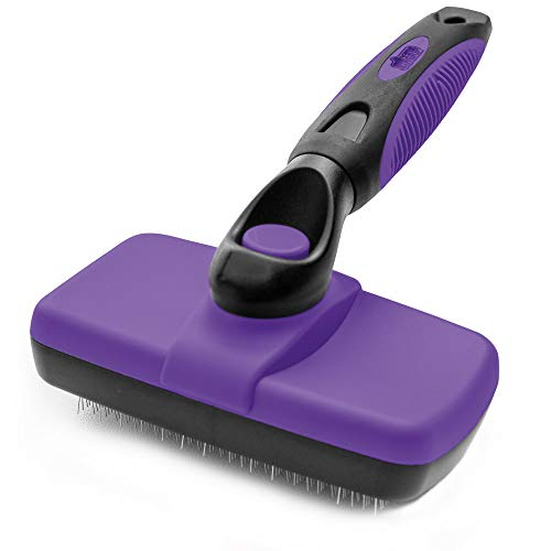 Gorilla Grip Premium Self Cleaning Pet Slicker Brush, Cats and Dogs, Gently Removes Loose Fur, Less Tangled Mats, Comfortable Grip, Easy Cleaning, Gentle Grooming On Long or Short Haired Pets, Purple