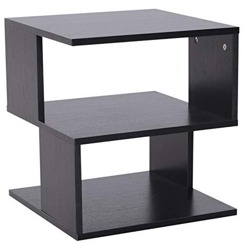 HOMCOM Modern Square 2 Tier Wood Coffee Side Table Storage Shelf Rack Living Room Black