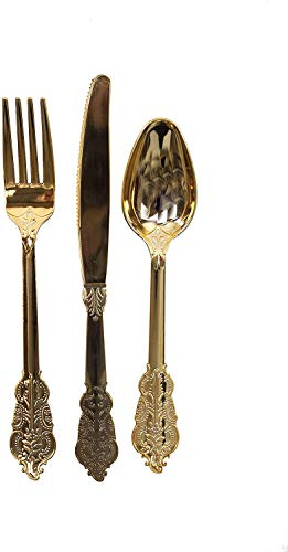Talking Tables Gold Plastic Silverware Set   Gold Plastic Cutlery Set   Disposable Silveware Set   Great For Gold Party Supplies