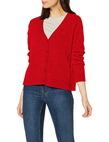 GANT Damen Superfine Lambswool Cardigan Strickjacke, Orange (Blood Orange 818), Medium (Herstellergröße: M)