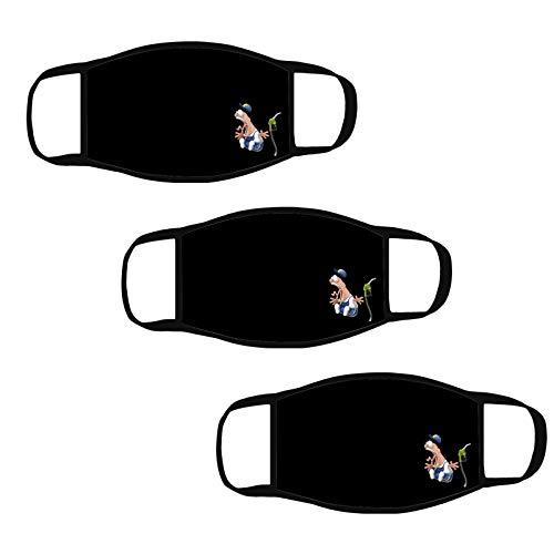 QIUMINGSS Schwarz Einfarbig Mundschutz Nasenschutz Cartoon-Muster-Figur B