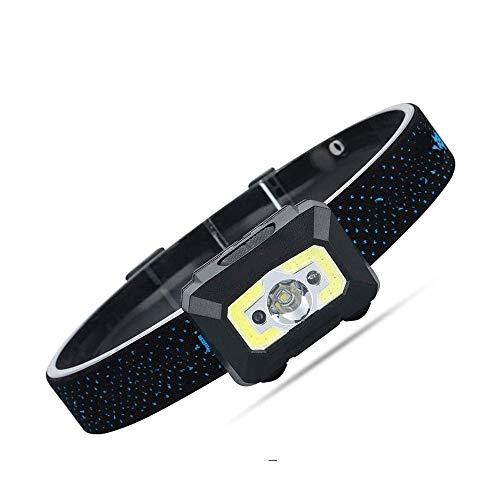ZBQLKM Faro, Cinco Modos, Sensor de Carga del Fulgor Impermeable Brillante estupendo LED de la Noche de Pesca montado en la Cabeza de la Linterna