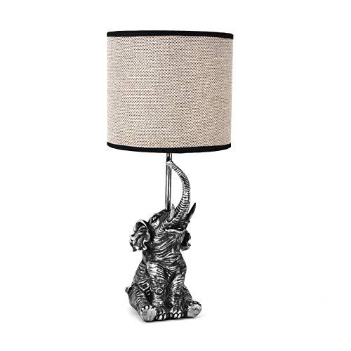 MAISONICA Lámpara de mesita de noche con diseño de elefante, color gris plateado, 46,5 cm