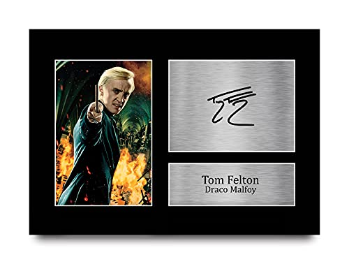 HWC Trading, Autografo stampato con scritta 'Tom Felton Harry Potter Draco Malfoy', formato A4, regalo da collezione per i fan