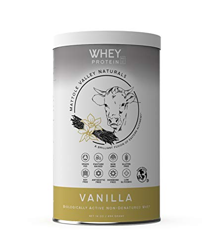 Whey Protein Powder - 16 oz - Grass-Fed - Vanilla - Gluten-Free with Probiotics and Amino Acids - Natural Digestive Enzymes, Vitamin D