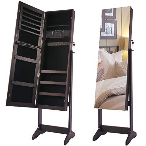 Lavievert Schmuckschrank stehend Vollbildspiegel, abschließbarer Schmuck armoire, winkelverstellbarer Aufbewahrungsschrank, Schmuck Veranstalter