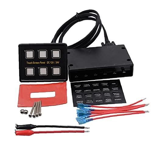 RRunzfon Cierre el Panel Conmutador Voltímetro Combinación Panel 6 Gang, Rocker Panel del Interruptor 12V / 24V para el Barco del Coche Universal