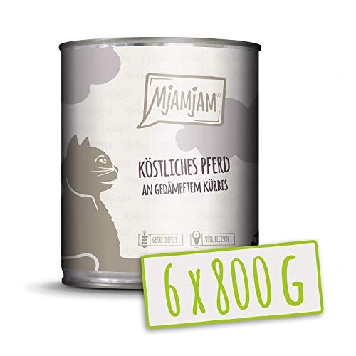 MjAMjAM - Premium Nassfutter für Katzen - köstliches Pferd an gedämpftem Kürbis, 6er Pack (6 x 800 g), getreidefrei mit extra viel Fleisch