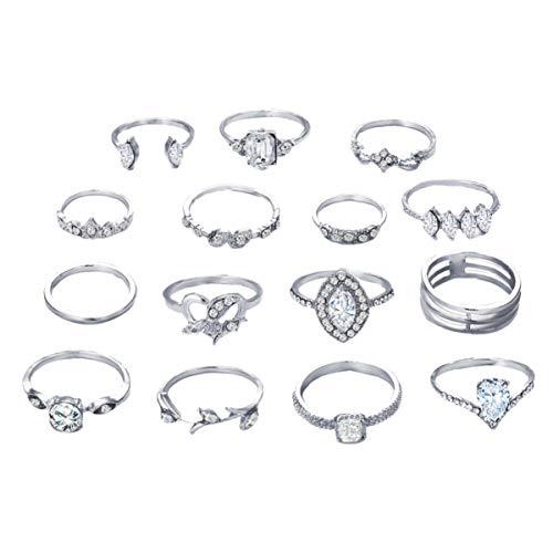 Holibanna 15 peças de anéis articulados, vintage, vazado, cristal, strass, juntas, juntas, conjunto de anéis de empilhamento feminino, coroa de estrela, acessórios para joias