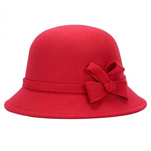 Leisial™ Elegant Warm Halten Damen Fischerhüte Herbst und Winter Dame Hut Bogendekoration Fischerhüte Rot 58CM
