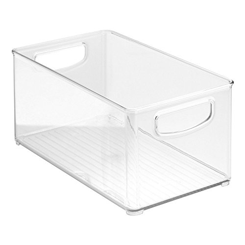 """Clear Organizer Storage Bin with Handle Compatible with Kitchen I Best Compatible with Refrigerators, Cabinets & Food Pantry - 10"""" x 5"""" x 6"""""""