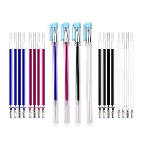 AIEX 4 colores borrables al calor bolígrafos de tela con 20 recambios reemplazables para bolígrafos y 4 bolígrafos con gorra azul