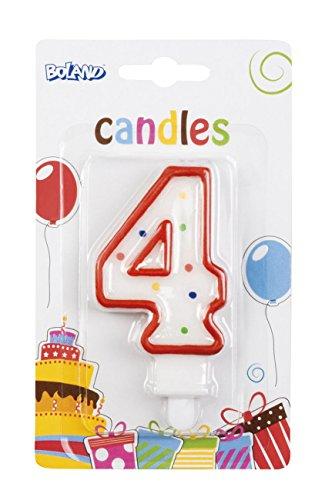Boland 63404 Zahlen Kerze in farbiger Sortierung, 4