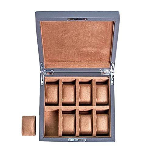 Organizer per orologi, scatola per orologi in legno a 8 scomparti, elegante custodia per orologi con portachiavi con cuscinetti per orologi rimovibili, espositore per orologi con fodera in velluto,