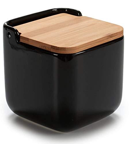 TIENDA EURASIA® Salero de Cerámica Cocina con Tapa de Bambú (Salero Negro)