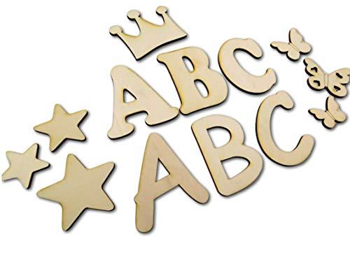 10cm Buchstabenrohling I Holzbuchstaben, Zahlen zum bemalen I Als Wunschname individualisierbar I Tolle Holzmotive zubuchbar I Buchstaben von A-Z vorhanden auch Zahlen und Sonderzeichen wie &,?,! usw.