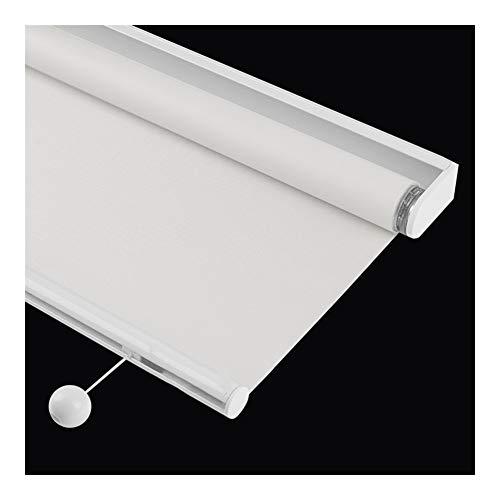JIANFEI Rullgardiner, automatisk tyst fjädertyp 100 % helt skuggande anti-UV gardin sovrum vardagsrum balkong skugga två färger, anpassningsbar (färg: Vit, storlek: 90 cm x 120 cm)