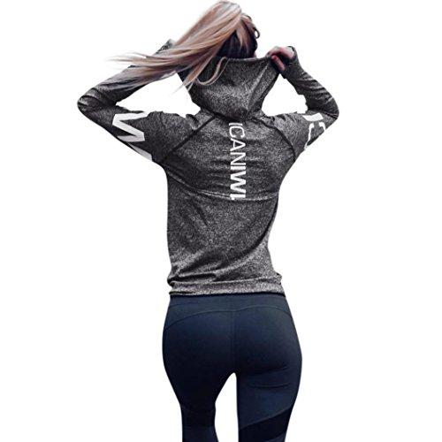 Internet Damen Letter Trainingsanzug Kapuzen Sweatshirt Sportswear Bluse Tops (M, grau)