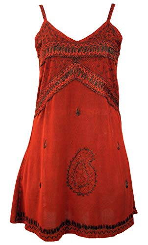 Guru-Shop Besticktes Indisches Kleid, Boho Minikleid, Damen, rot Design 1, Synthetisch, Size:40, Kurze Kleider Alternative Bekleidung