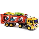 Toy To Enjoy Car Carrier Truck with Light & Sound Effects  Vehicle Transporter Trailer - Friction Powered Wheels & Four Removable Cars - Heavy Duty Plastic Vehicle Toy for Kids & Children