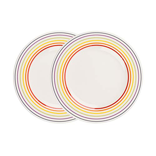 Bugatti 1109602 Rainbow Multicoloured Striped Edge Side Small Plates, 22 cm, Set of 2