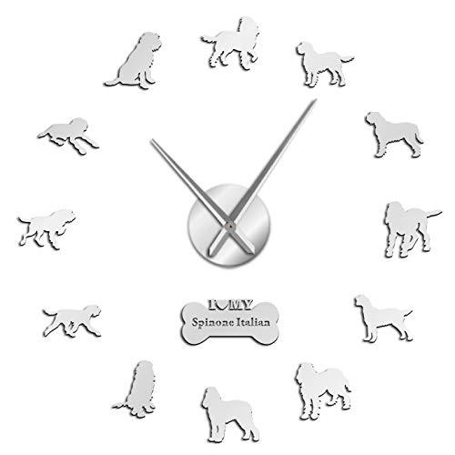 YQMJLF Reloj Pared DIY 3D Grande Hound Puntero de Pelo de Alambre Reloj de Pared Grande DIY Reloj de Movimiento silencioso de Superficie de Espejo acrílico para Perros Decor Navidad Regalo Plata