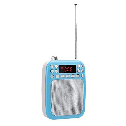 FOLOSAFENAR Haut-Parleur MP3 Haut-Parleur à mémoire de Point de Rupture Radio FM Rechargeable, pour l'enseignement, pour PC, téléphone Portable(Blue (Including Belt))