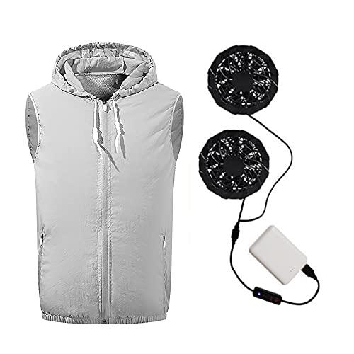 73FACAI Gilet Extérieur Ventilateur Gilet Climatisation Vêtements Unisexe Ventilateur Refroidissement USB Charge Soudage Refroidissement avec Batterie Externe,Gray,3XL(190cm100kg)