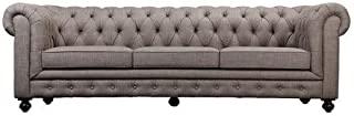 Pangea Home Z Brown Chester 3 Seater Sofa Fabric