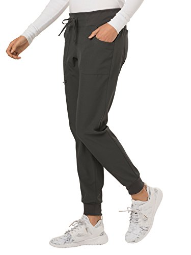 HeartSoul Low Rise Tapered Leg Jogger Scrub Pant, Pewter, Small
