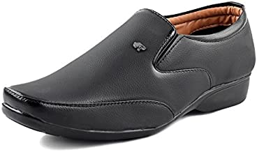 ESSENCE Men's Black Formal Synthetic Slip-On Shoes 3104