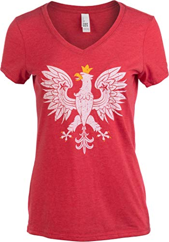 Poland Pride | Vintage Style, Retro Polish Eagle Polska Women Girl T-Shirt Top-Vneck,XL