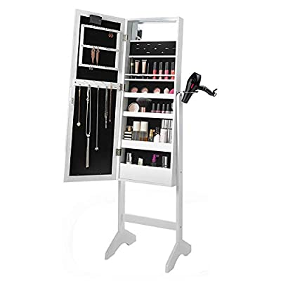 Full Floor Standing White Mirror Makeup - Jewellery Organiser with LED Lighting By WarmieHomy