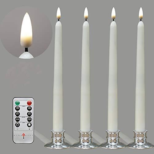 4 Stück LED 28cm Stabkerzen mit Neue Flimmer Flammen-Technologie, Flackernde Elfenbeinkerze aus Echtem Wachs mit Fernbedienung und Timer-Funktion - mit 4 silbernen Kerzenhaltern