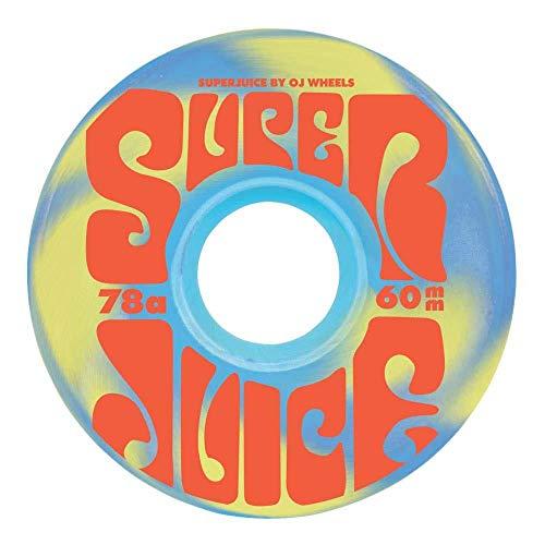 OJ Soft Wheels Super Juice Skateboard-Rollen 78a Swirl Blau Gelb 60 mm