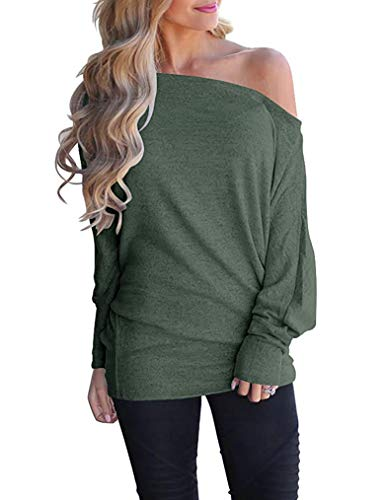 Poetsky Womens Tops and Blouses Off Shoulder Shirts Casual Loose Long Sleeve Tops (L, Green)