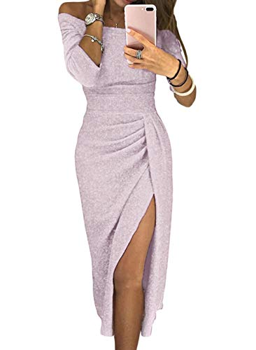 HUUSA Womens Prom Party Wedding Cocktail Sexy Dresses Formal Elegant Off Shoulder Ruched Sprakling Knitted Midi Dresses ((US 16-18) X-Large, Light Purple)