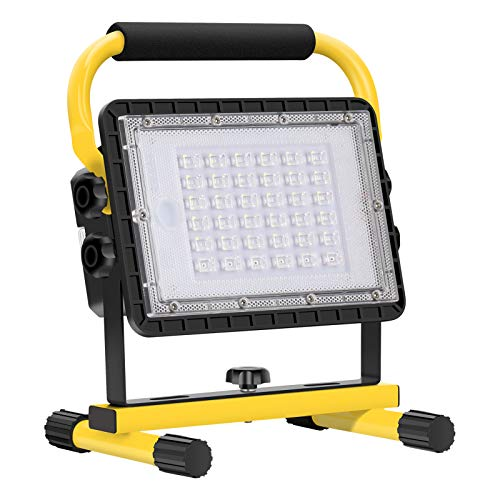 Baustrahler LED Akku, 60W 6000 Lumen LED Arbeitsleuchte Akku Strahler Tragbar Arbeitsscheinwerfer Akkukapazität 20800 mAh Bauscheinwerfer für Werkstatt Baustelle Garage Außen Beleuchtung für Camping