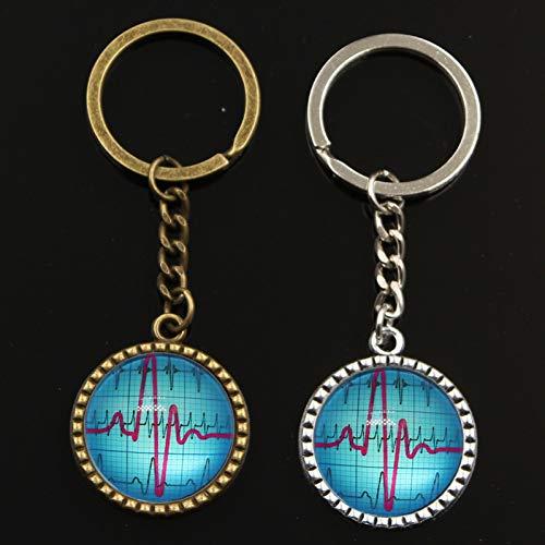 XHYKL Heartbeat ECG hart sleutel ketting voor mannen zilver metalen sleutelhanger auto sleutelhanger ring eenvoudige glas cabochon sleutelhouder partij gift sieraden