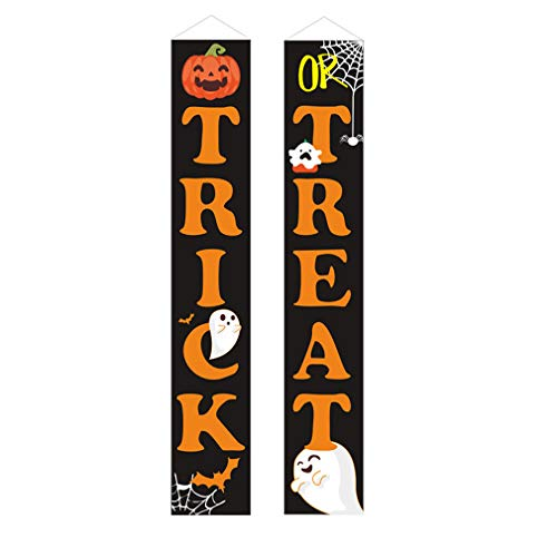 GGQF Halloween Decorations Outdoor,Trick Or Treat Set Includes Trick Or Treat Banner for Front Door Display for Garden,Durable Halloween Home Decor,B