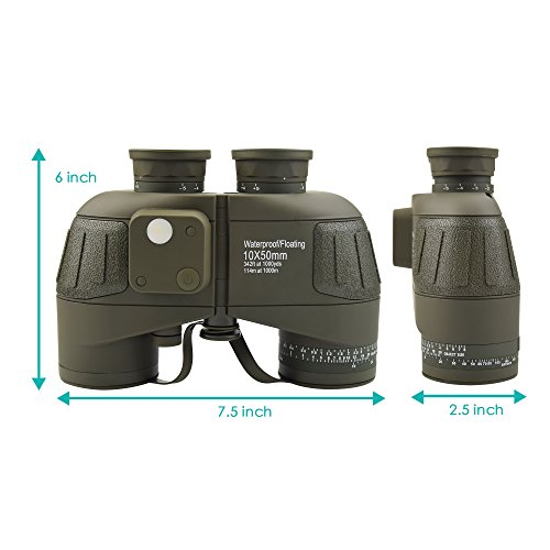 Feyachi 10x50mm Marine Binoculars with Illuminate Compass + Binoculars Strap +Storage Bag for Hiking Camping Boating Black
