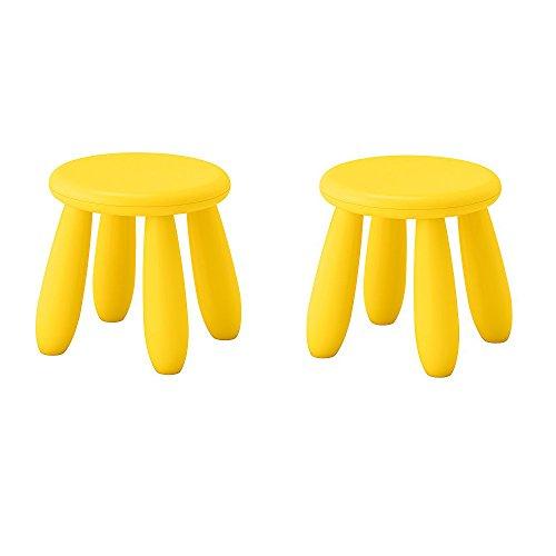 IKEA Mammut Taburete para niños, interior/exterior, amarillo (Paquete de 2)
