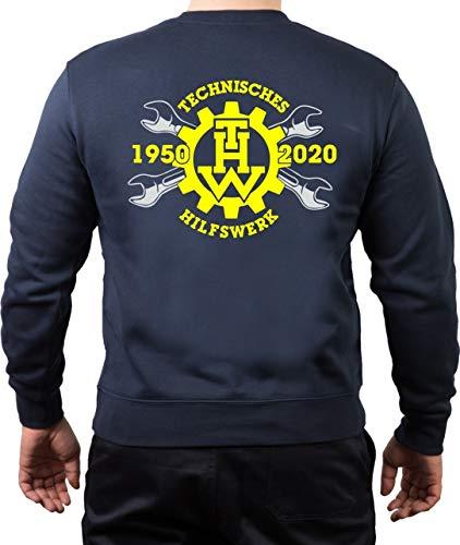 FEUER1 Sweatshirt Navy, 70 Jahre THW -1950-2020 Jubiläumsshirt M